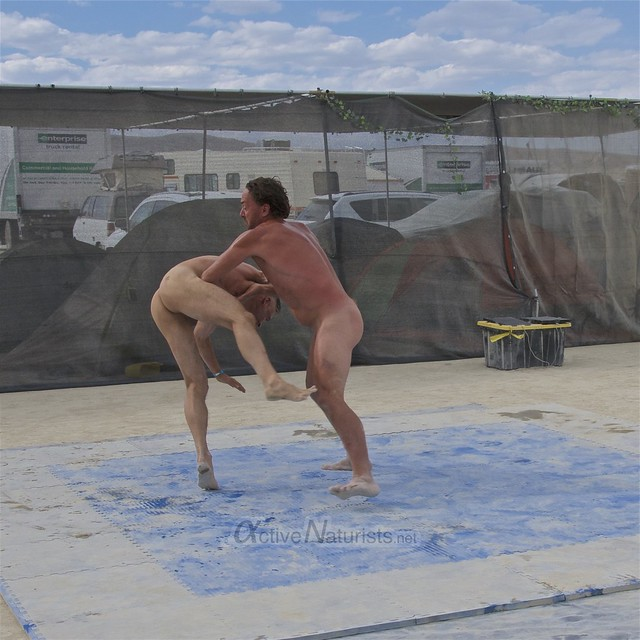 naturist wrestling camp Gymnasium 0036 Burning Man, Black Rock City, NV, USA