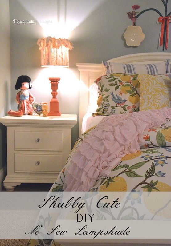 Shabby Cute DIY No Sew Lampshade - Housepitality Designs