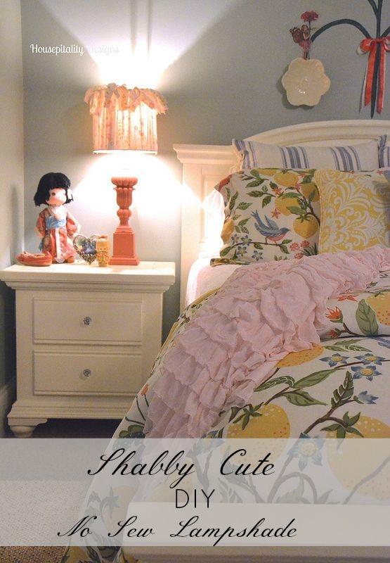 Shabby Cute DIY No Sew Lampshade - Housepitality Designs