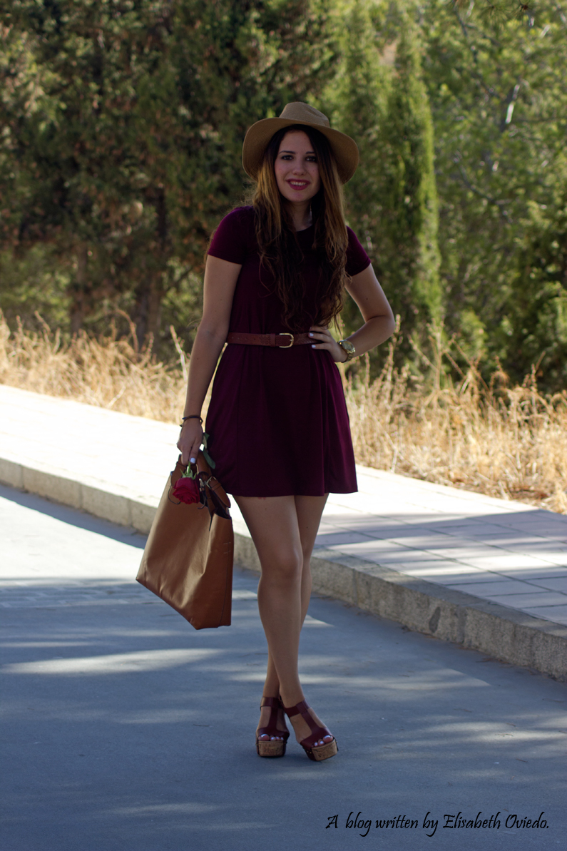burgundy dress STRADIVARIUS MARYPAZ HEELSANDROSES (8)
