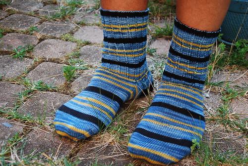 Handknit men's socks by irieknit in Turtlepurl Live Long and Prosper yarn