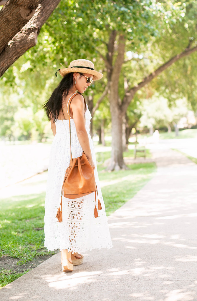 cute & little blog | petite fashion | white crochet lace maxi dress, tassel bucket bag, boaters hat | summer outfitcute & little blog | petite fashion | white crochet lace maxi dress, tassel bucket bag, boaters hat | summer outfit
