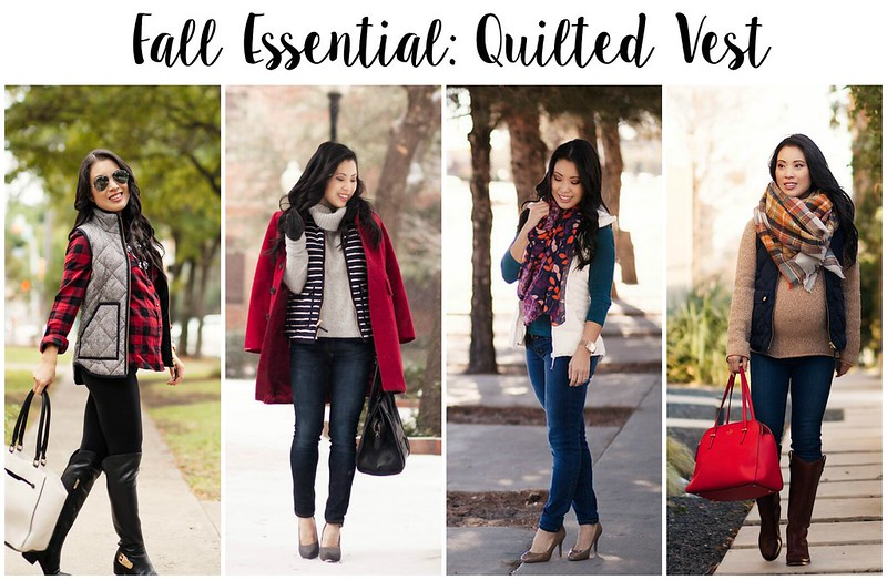 The best Puffer Vests: quilted puffer vest styling inspo