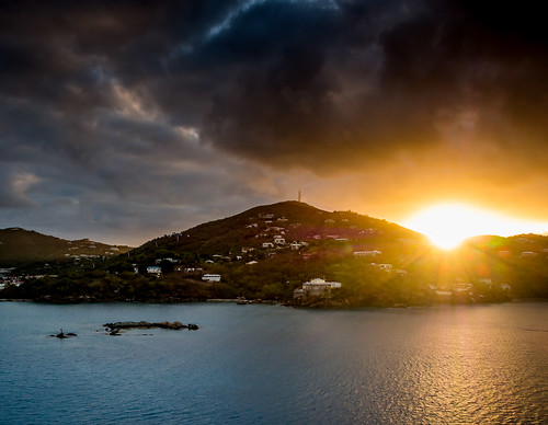 travel vacation tourism clouds sunrise holidays waterfront ominous scenic shore leisure caribbean relaxation vi stthomas usvirginislands