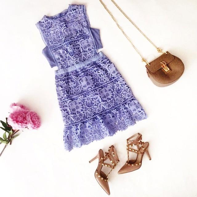 cute & little blog | petite fashion | lavender crochet cutout dress, studded pumps