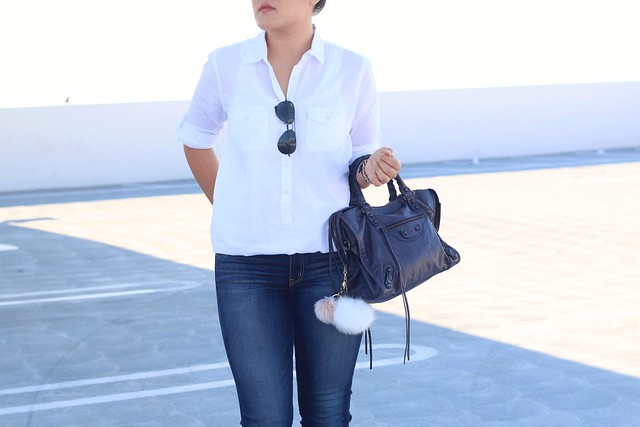 simplyxclassic, classic white shirt, jcrew, balenciaga city bag, designer handbag, nude heels, blogger, fashion, style, mommy, orange county, california, simple, casual chic, ootd,