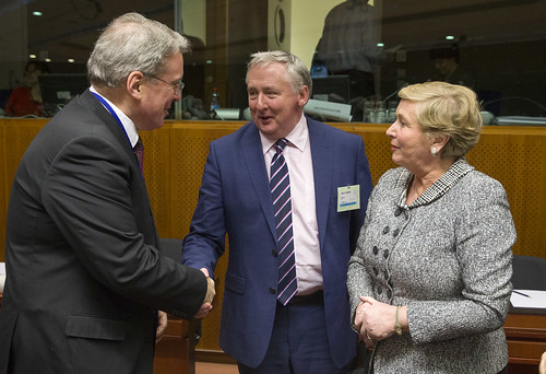 Centre Noel Waters, Secretary General (Acting) of the Department of Justice and Equality and Minister Frances Fitzgerald at the Emergency JHA Council