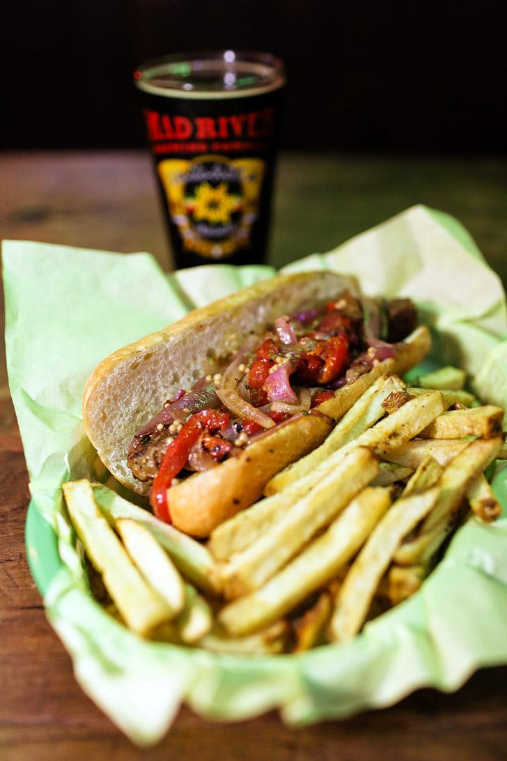 Spicy Hop Sausage Sannich at Hamilton Tavern San Diego.