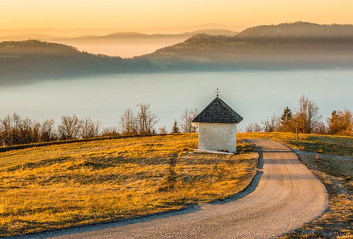 morning mist fog sunrise haze view hills limbarskagora