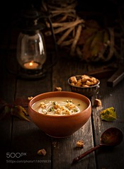 Cauliflower and Mushroom Soup with Herbed Croutons