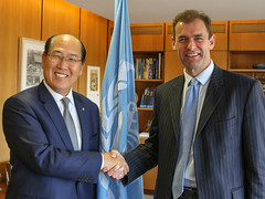Operation Commander Rob Magowan meeting with the  Secretary General of the International Maritime Organization (IMO) Kitack Lim