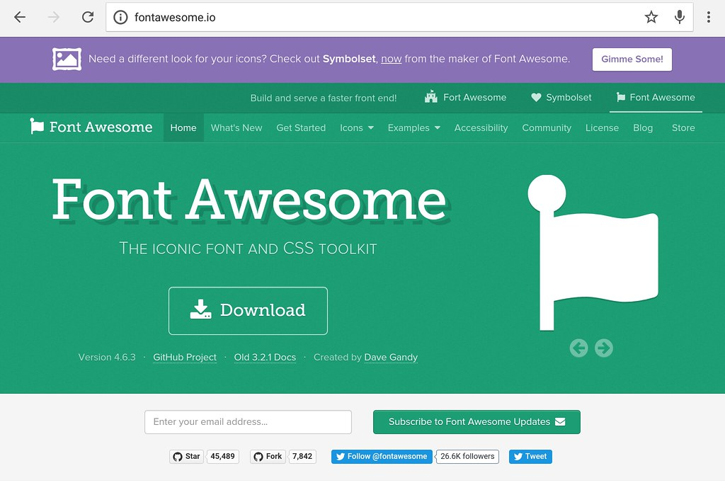 Font Awesome homepage.