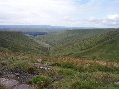 View down Cwm Crew to Cantref Reservoir