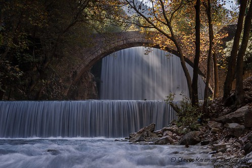 bridge river waterfall water gorge tree green landscape landscapephotography canonphotography canonusers canon t3i ef35350mmf3556lusm trikalla greece palaiokarya portaikos outdoor serene architecture