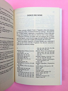 Roland Barthes, Il discorso amoroso. Mimesis 2015. Indice dei nomi, a pag. 642 (part.), 1