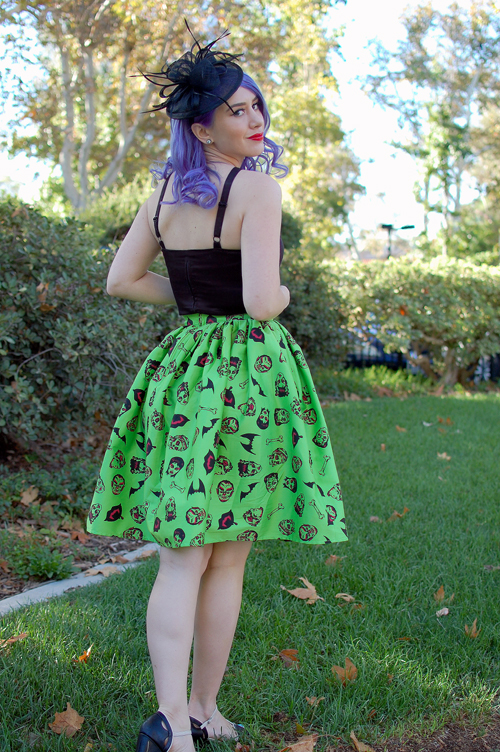 Pinup Girl Clothing Darling Dames Skirt in Monster Print