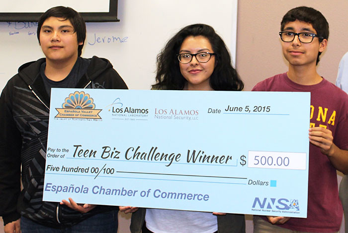 Winners of the 2015 Española Teen Biz Challenge, who will compete in the upcoming regional event: Nathaniel Baros, Maria Roybal and Amabilis Baca (l to r).
