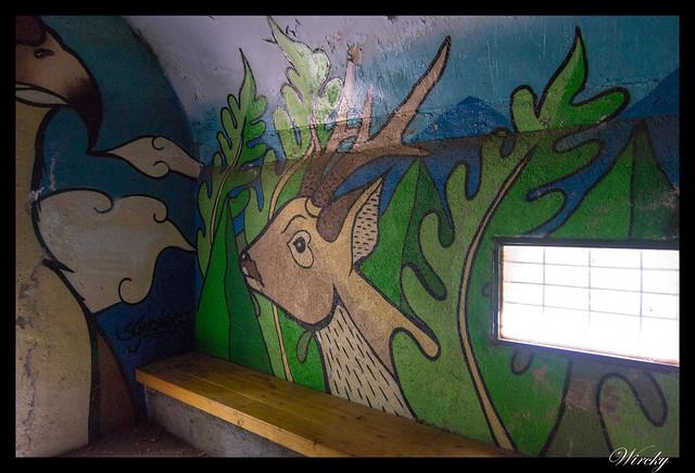 Grafiti ciervo en refugio de Majalavilla