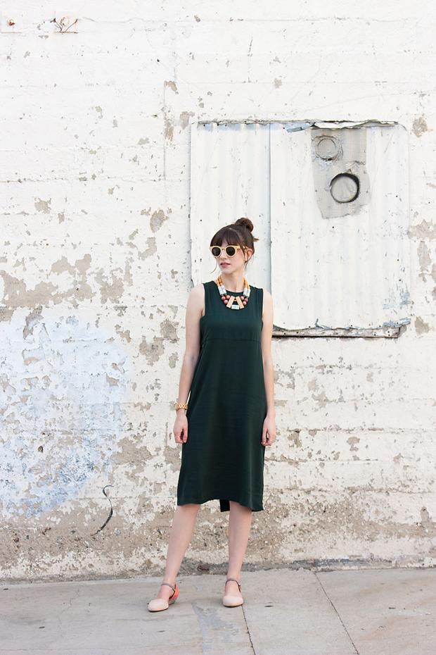 Green Midi Dress, Statement Necklace, Panda Sunglasses