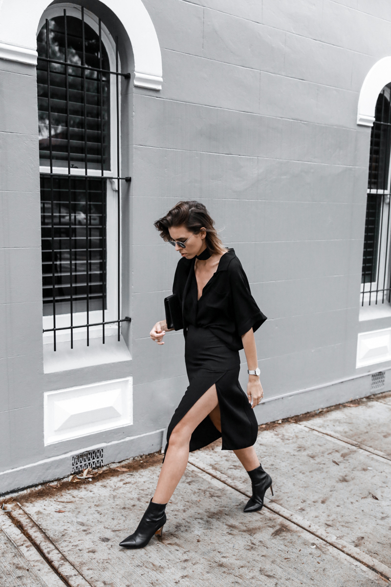 all black outfit, workwear, street style, skinny scarf, split skirt, Third Form, pointed ankle boots, round sunglasses, fashion blogger, modern legacy (1 of 1)