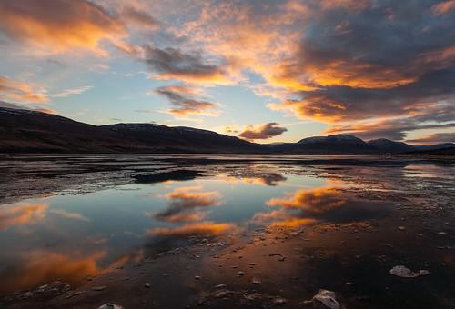 winter sea sky orange cloud sun mountain sunrise eyjafjordur akureyri