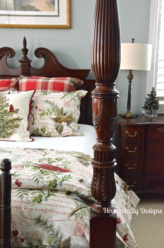 The Master Bedroom Dressed For The Holidays With The