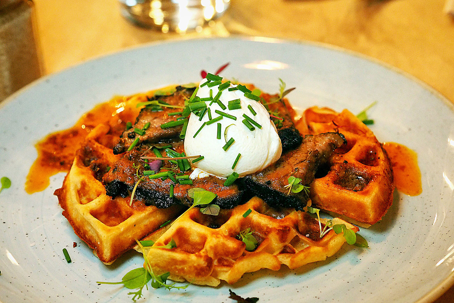 Beef Brisket with Waffles, Smoked Chilli Butter, Kansas City Shuffle: The Rocks