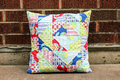 Color Me Retro Half-Square Triangle Pillow