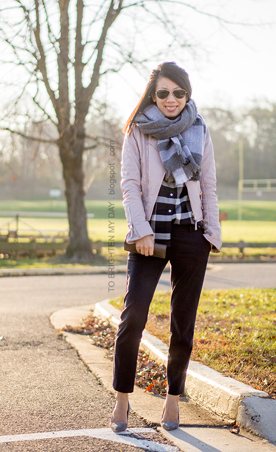 gray plaid blanket scarf, lilac leather jacket, navy plaid shirt, navy pants, taupe clutch, gray suede pumps