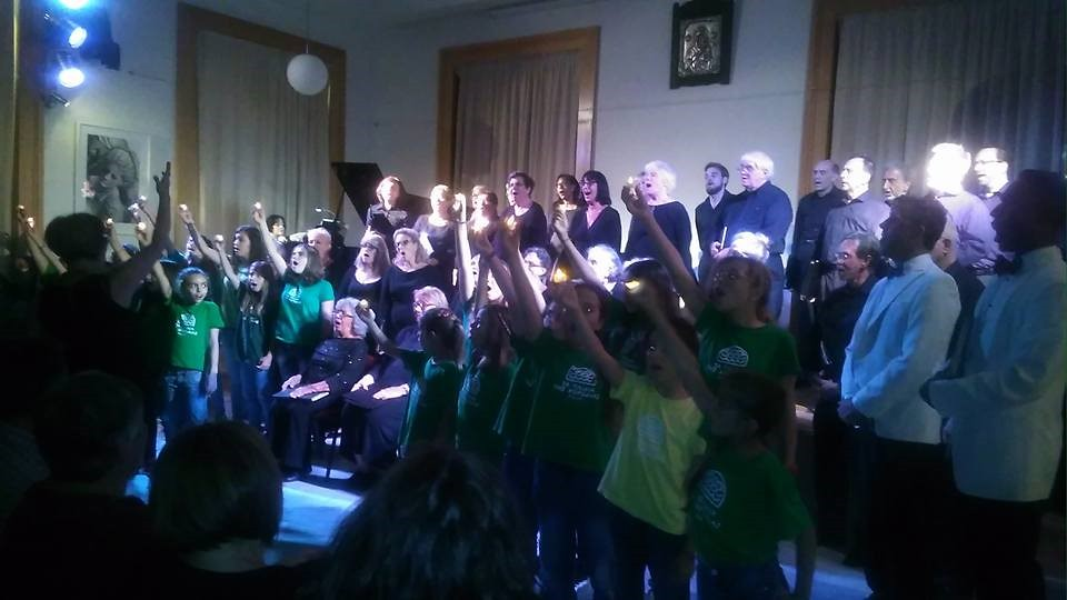 West Village Chorale performs a joint concert with Ta Paidia tis Horodias in the Cultural Foundation in Tinos, Greece