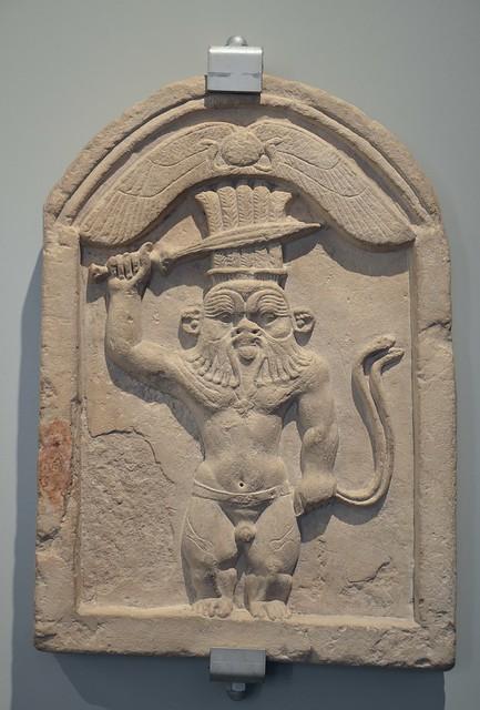 Limestone stele of Bes, Late Ptolemaic period, 1st century BC, Museo di Scultura Antica Giovanni Barracco, Rome