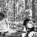 Shiloh and Will in woods black and white-1