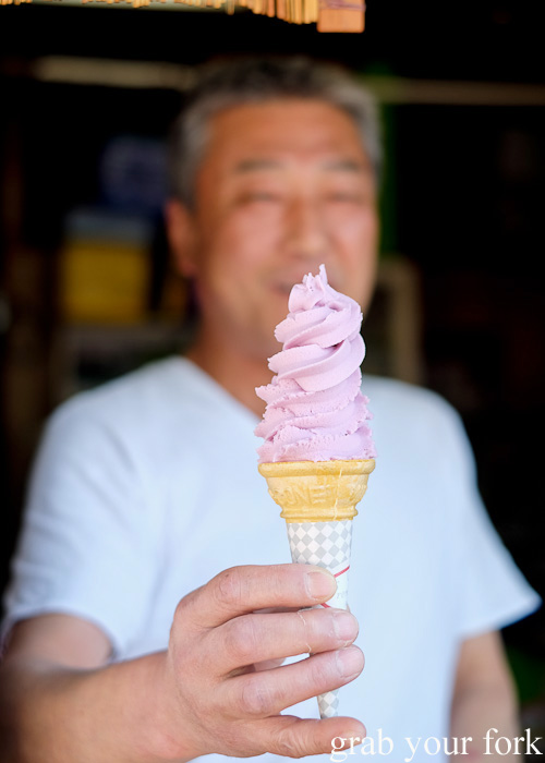 Grape soft serve on Miyajima Island