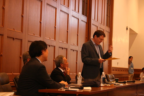 Opening remarks: Samuel Otter with Takayuki Tatsumi (left), Arimichi Makino (behind Tatsumi), and Ken Sekine, the Dean the Faculty of Letters at Keio.