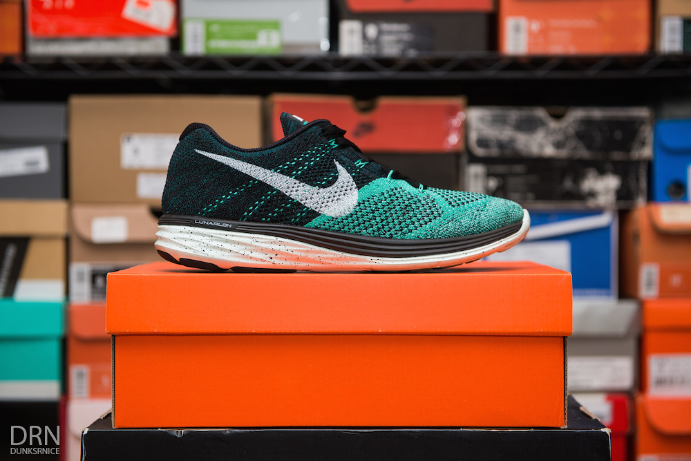 Women's Teal Flyknit Lunar Three's.