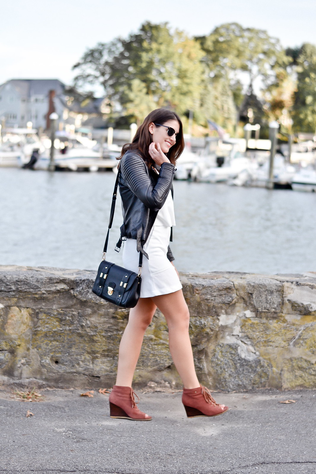 Leather Jacket and White Dress Outfit