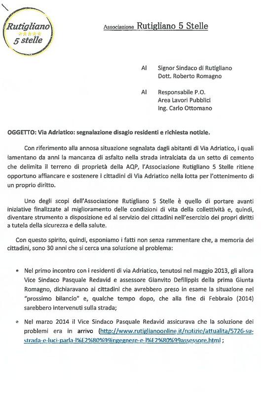 Rutigliano- Il movimento 5 stelle presenta una istanza per via Adriatico