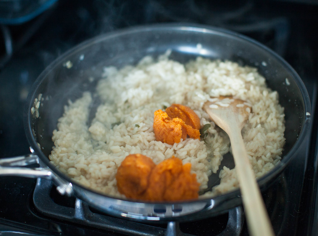 pumpkin, sage and goat cheese risotto