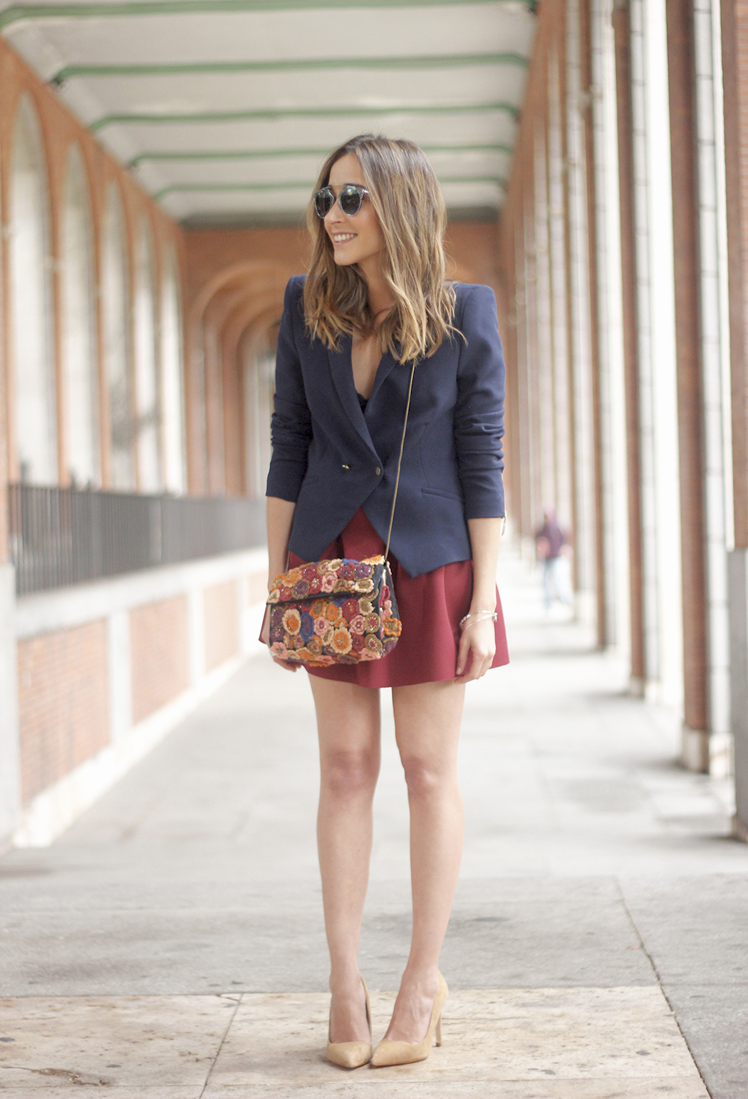 Blue Blazer Burgundy Skirt Outfit14