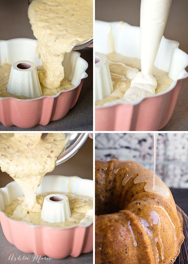 Pour most of the batter into the bundt pan then pipe the cheesecake filling in and top with the last little bit of the batter, not to much cause the cheesecake will sink