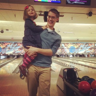 Black Friday bowling. Somebody just got her first spare!