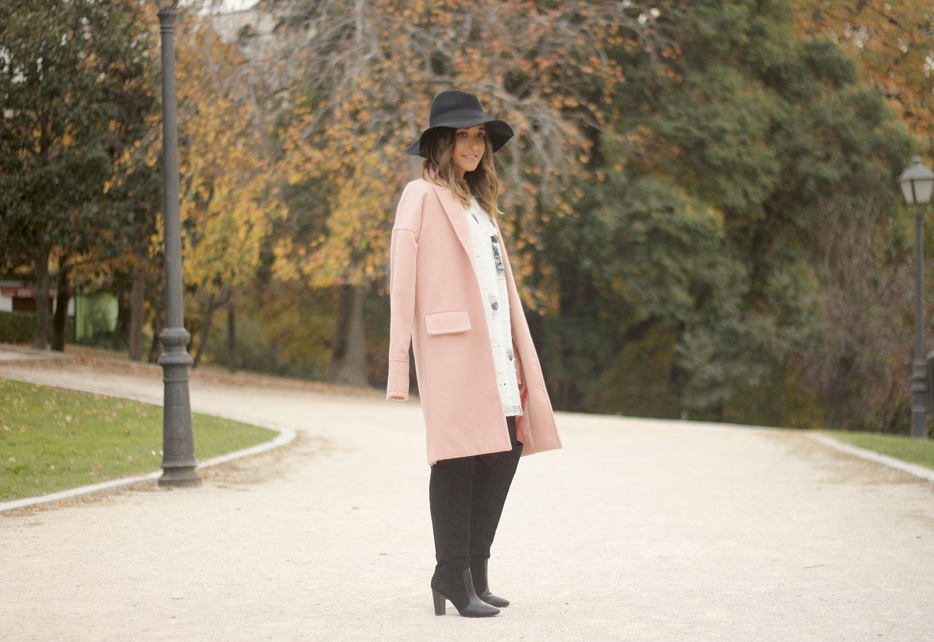 Black and White Dress Pink Coat Black Hat outfit style over the knees boots02