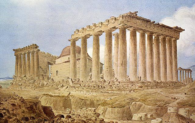 Pintura que representa al Partenón en el siglo XVIII