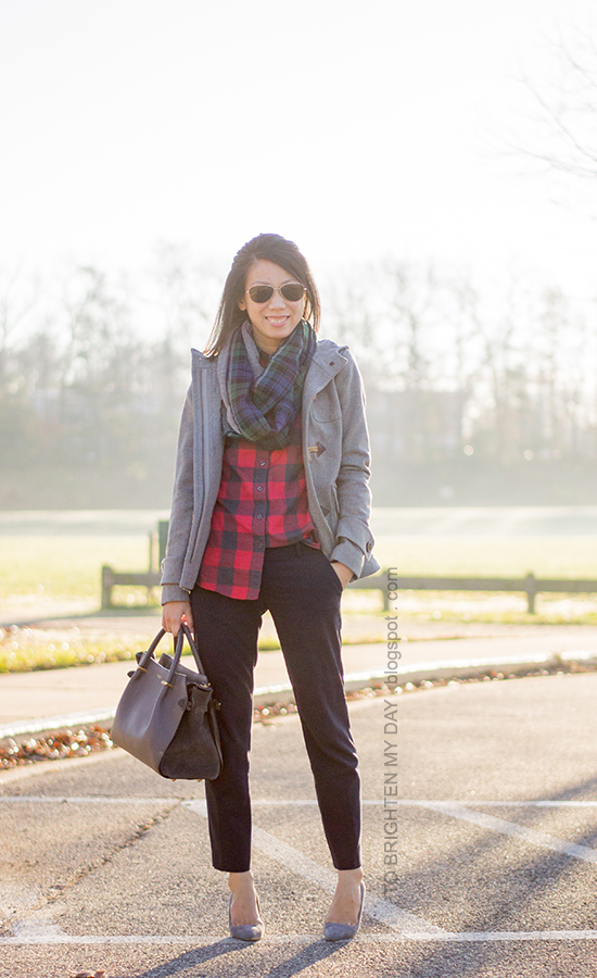 gray toggle coat, herringbone/plaid infinity scarf, red buffalo check shirt, navy pants, gray suede pumps