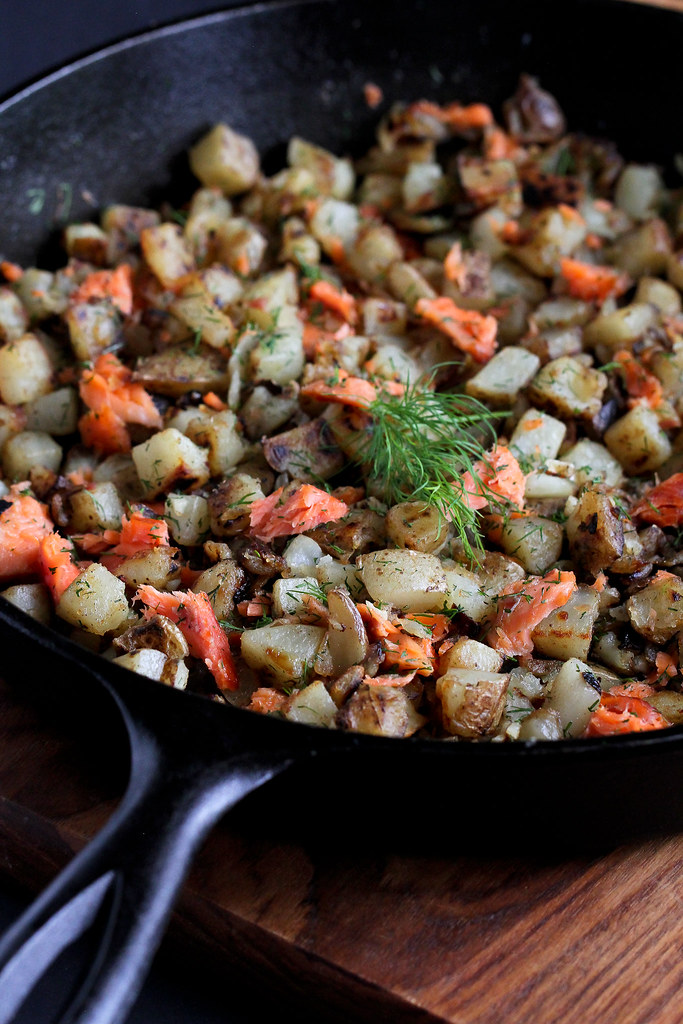 Breakfast Hash Recipe with Smoked Salmon and Dill...Great on its own and even better with a poached egg on top!
