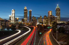 Atlanta Skyline with Light Trails