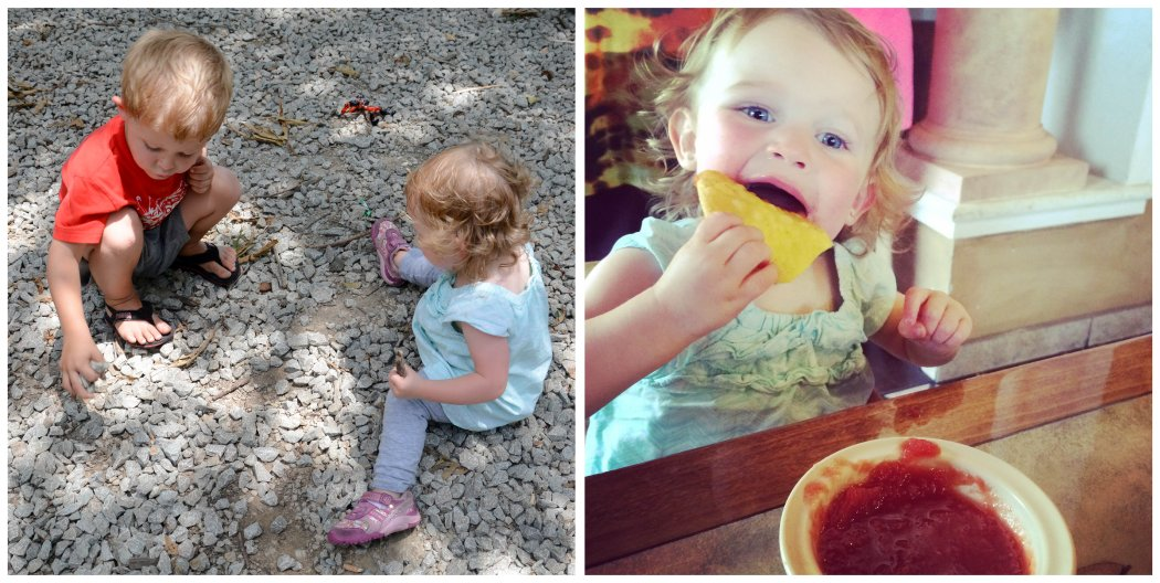 playing in the dirt and lunch