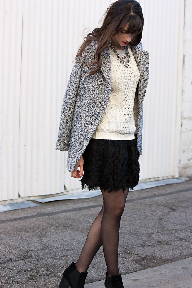 Banana Republic Fringe Knit Mini Skirt, Cream Cable Knit Sweater