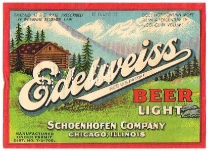 Edelweiss-Light-Beer-Labels-Schoenhofen-Company