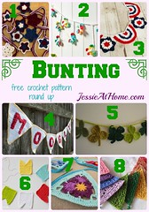 Bunting - free crochet pattern round up by Jessie At Home